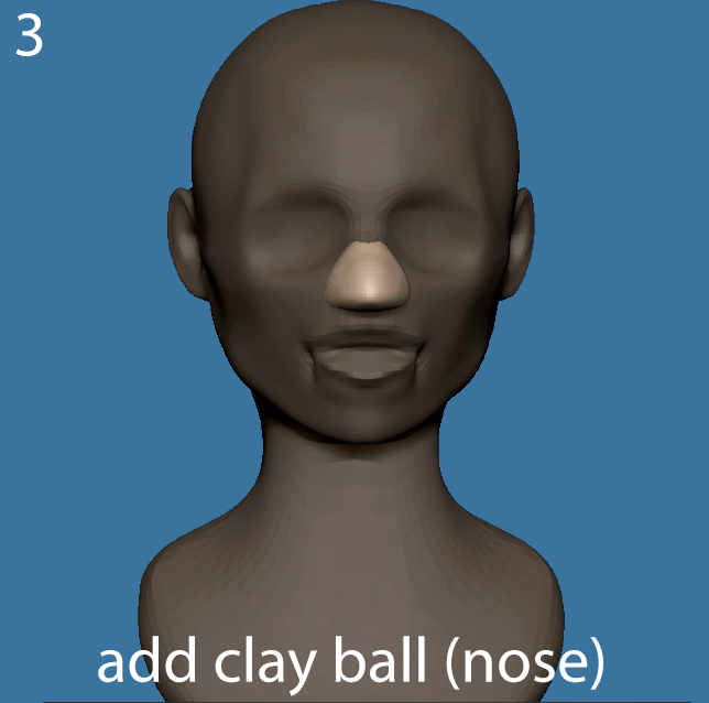 Add a clay ball to begin sculpting the nose.